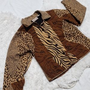 Quilted Jacket Large Animal Print Button Front